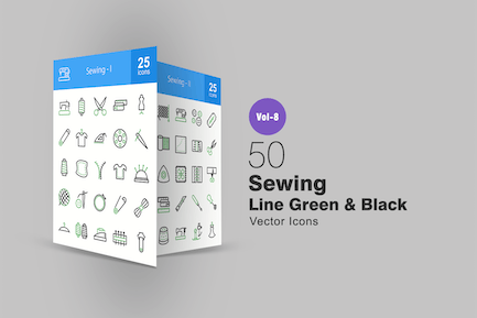 50 Sewing Green & Black Line Icons