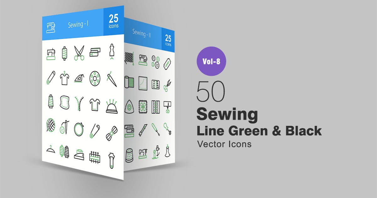 50 Sewing Green & Black Line Icons by IconBunny