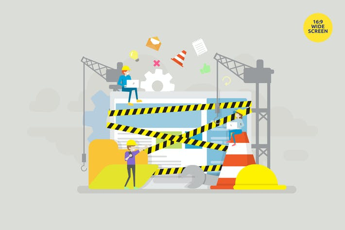 Under Construction Zone Page Vector Concept