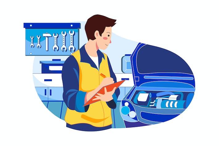 Thumbnail for Mechanic repairing car Illustration