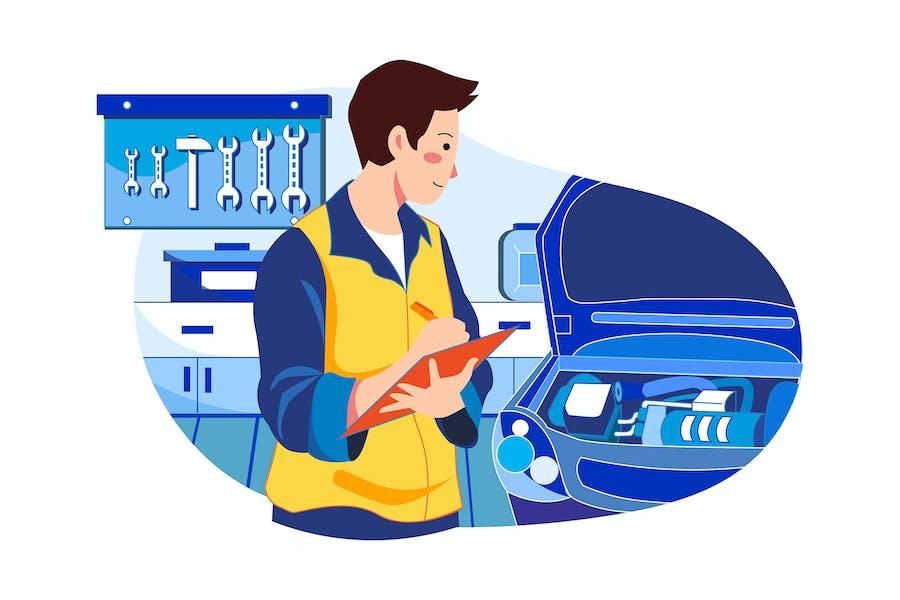 Mechanic repairing car Illustration
