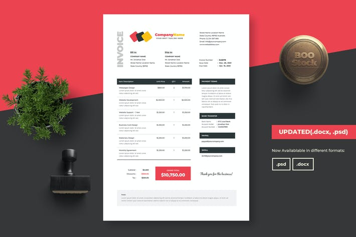 Thumbnail for Invoice Template 04 (.docx & .psd)