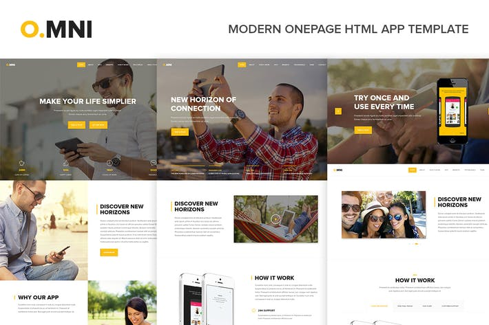 Thumbnail for Omni - Modern Onepage HTML App Template