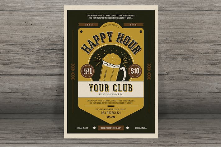 Thumbnail for Vintage Happy Hour Beer Promotion Flyer
