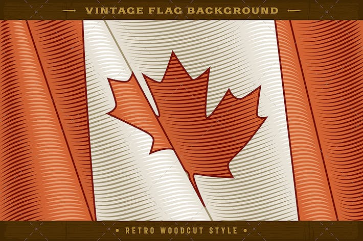Vintage Flag Of Canada. Close-up Background
