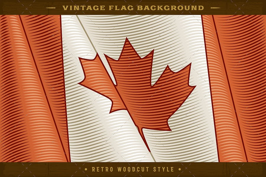 Vintage Flag Of Canada. Close-up Background