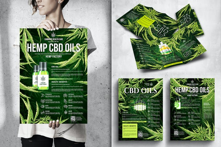 Thumbnail for Cannabis Hemp CBD Posters & Flyers Bundle