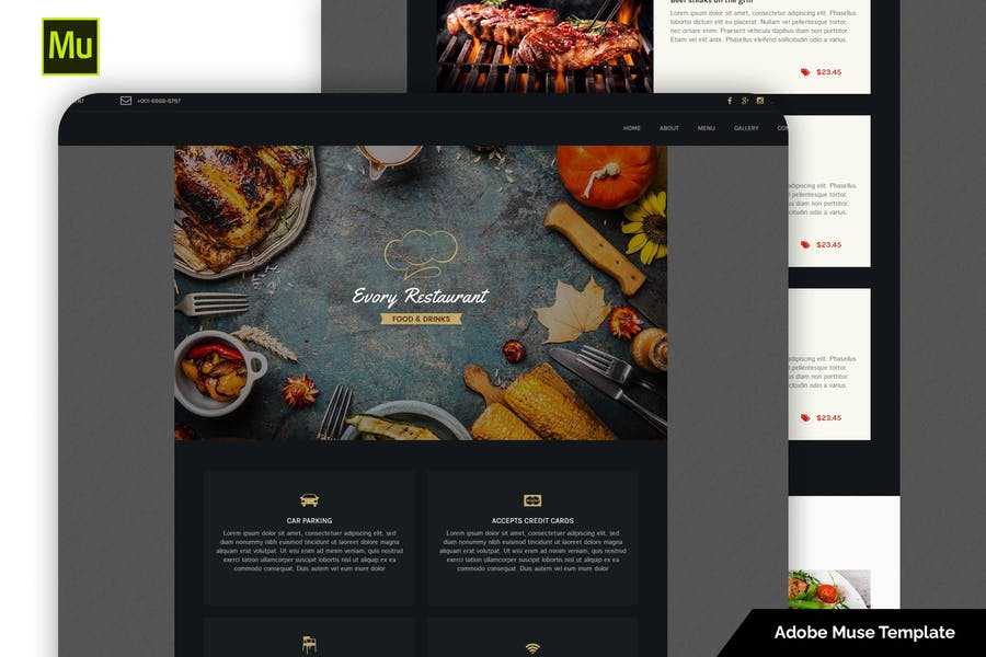 Evory - Адаптивный Шаблон ресторана Adobe Muse