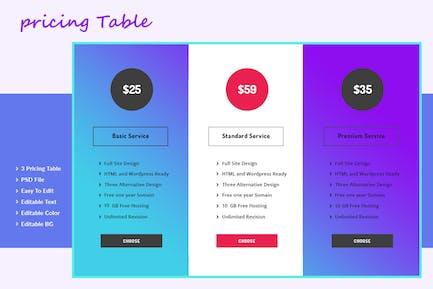 Pricing Plan web kit Table