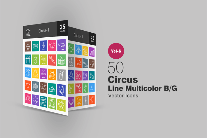 Thumbnail for 50 Circus Line Multicolor B/G Icons
