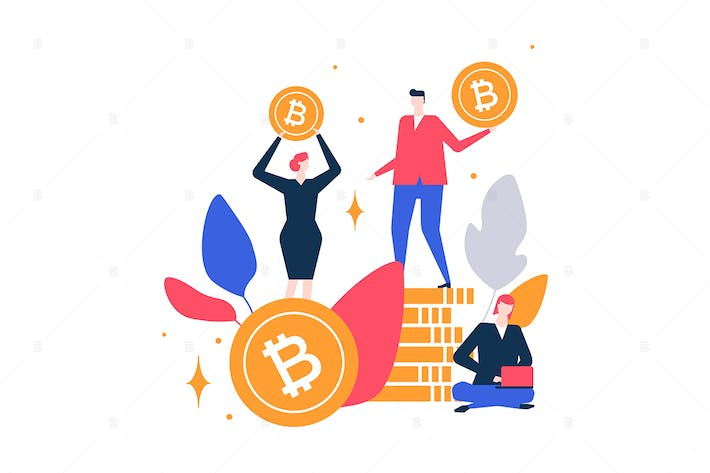 Thumbnail for Cryptocurrency - flat design style illustration