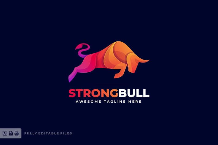 Thumbnail for Strong Bull Colorful Logo Template