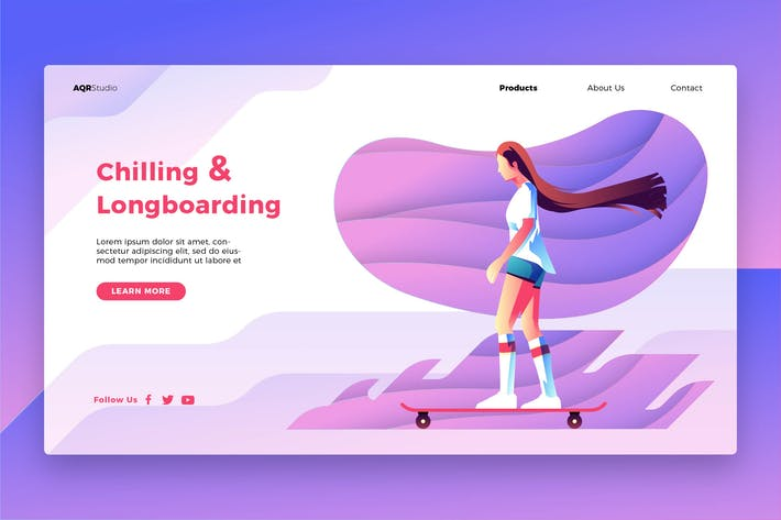 Thumbnail for Longboarding - Banner & Landing Page