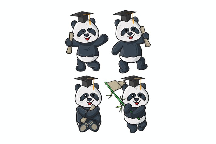 Thumbnail for vector illustration of vintage panda graduation