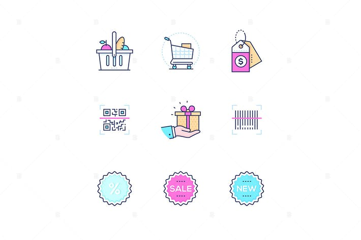 Thumbnail for Shopping - modern line design style icons set