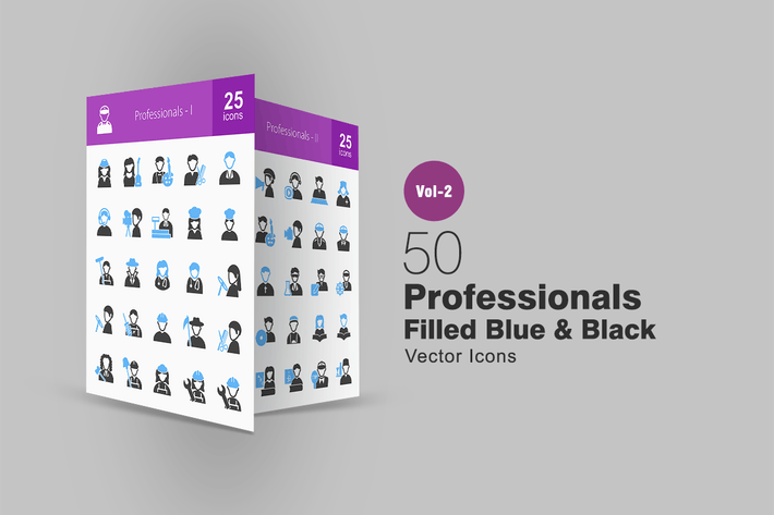 Thumbnail for 50 Professionals Blue & Black Icons