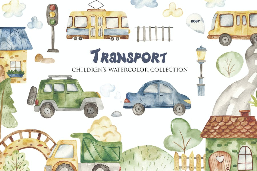 Watercolor Urban Transport
