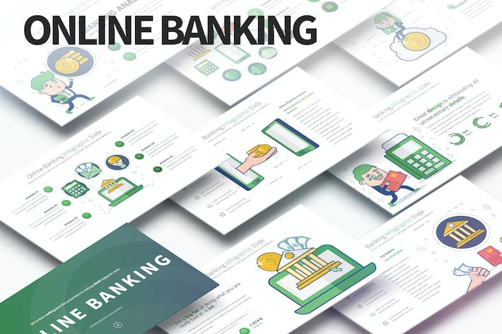 Thumbnail for Online Banking - PowerPoint Infographics Slides