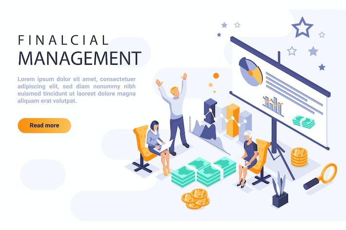 Financial Management Isometric Header Flat Concept