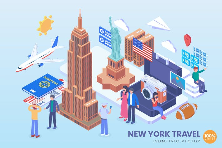 Thumbnail for Isometric New York Travel Holiday Vector Concept