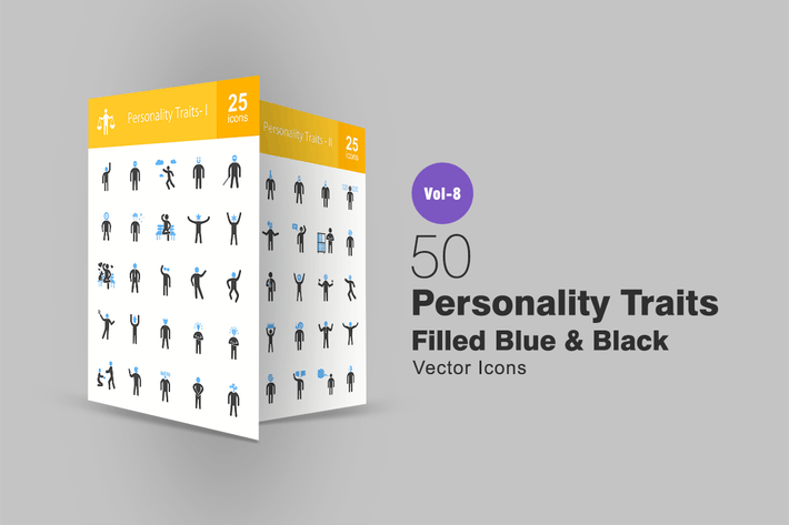 Personality Traits Blue & Black Icons