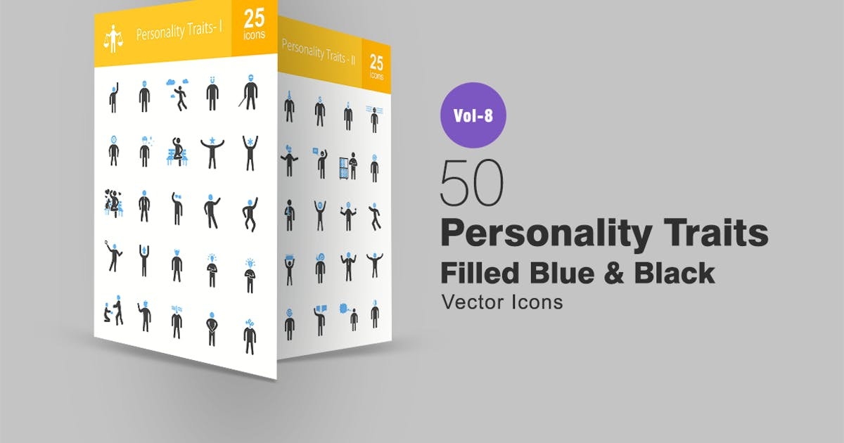 Download Personality Traits Blue & Black Icons by IconBunny