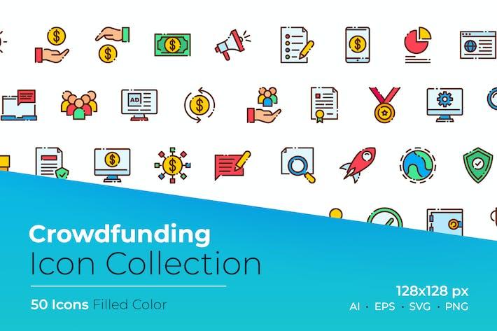 Thumbnail for Ícone de cor preenchida pelo crowdfunding