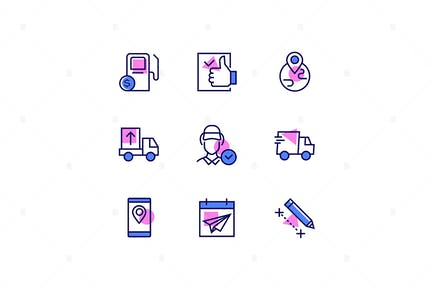 Logistics - Modern Line Design Style Icons Set