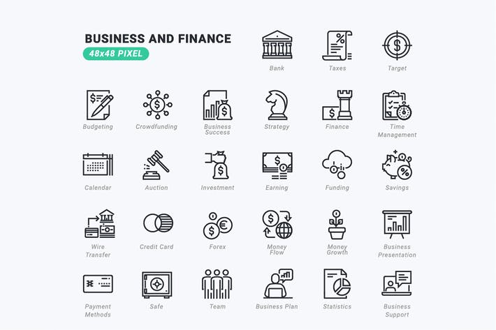 Thumbnail for Thin Line Icons Set of Business and Finance
