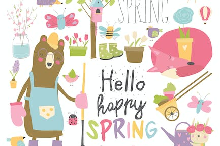 Cartoon characters and spring elements. Vector