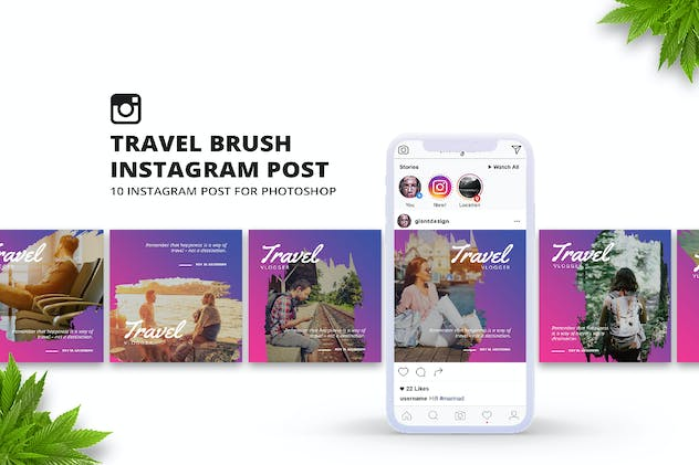 Travel Brush Instagram Post - product preview 0