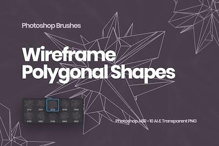 Wireframe Polygonal Shapes Photoshop Brushes