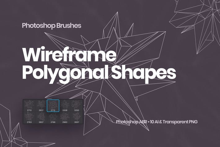 Thumbnail for Wireframe Polygonal Shapes Photoshop Brushes