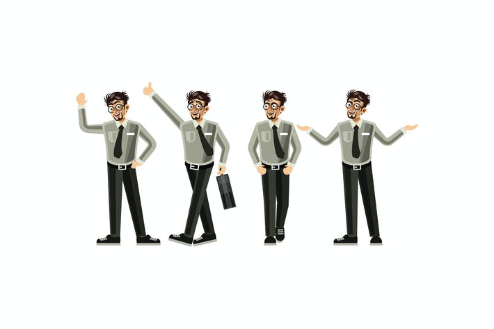 Thumbnail for Employee Character Set Graphics Vector