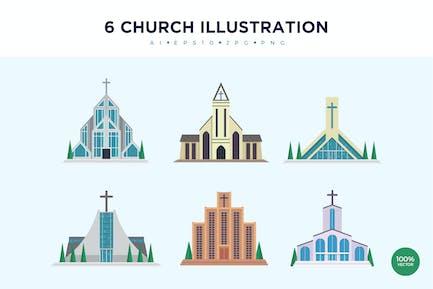 6 Modern Church Vector Illustration Set 2