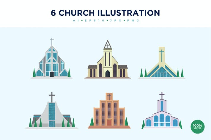 Cover Image For 6 Modern Church Vector Illustration Set 2