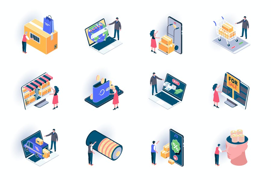 Retail Distribution Isometric Icons Pack