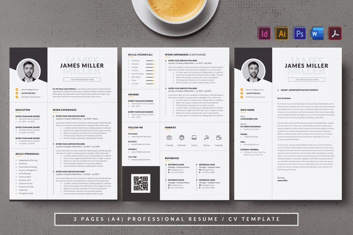 Cover Image For Monochrome & Minimal Resume/CV AN