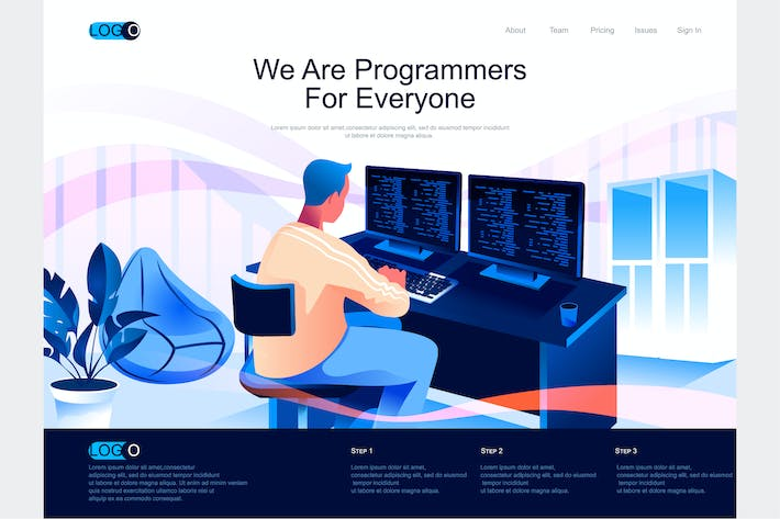 Thumbnail for Programmers Isometric Landing Page Template