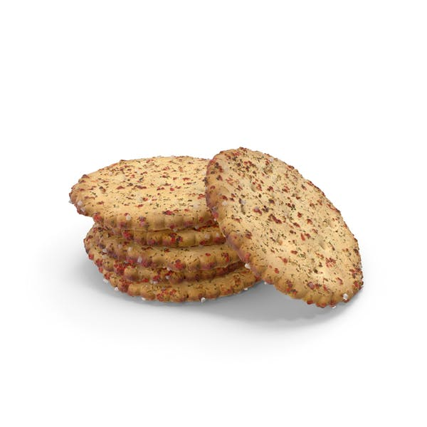 Small Pile of Circular Crackers With Spicy Seasoning