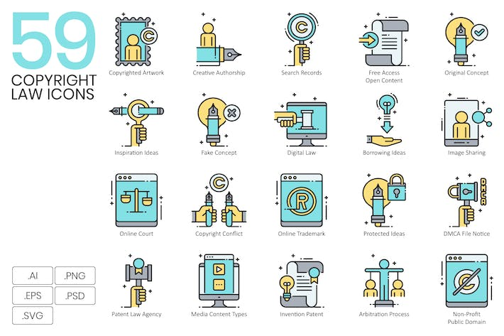 Thumbnail for 59 Intellectual Property Law Icons