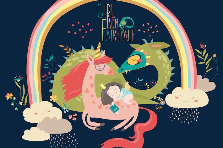 Cover Image For Cute cartoon dragon, unicorn and little princess.
