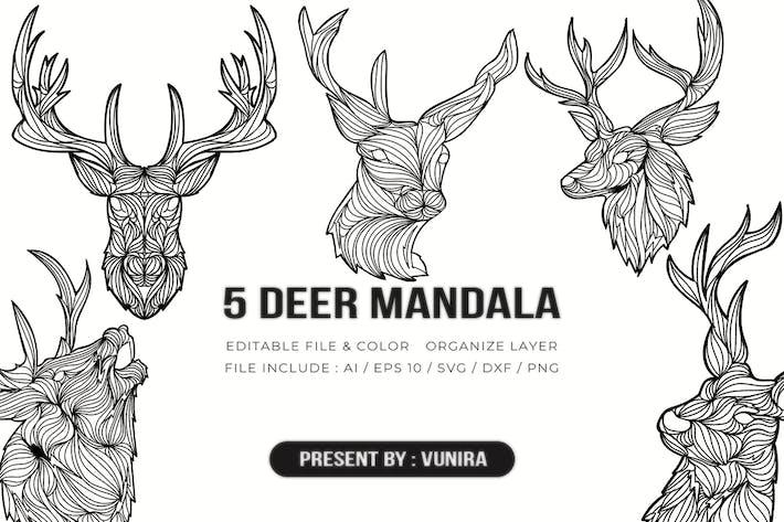 Thumbnail for 5 Deer Mandala | Design Illustration