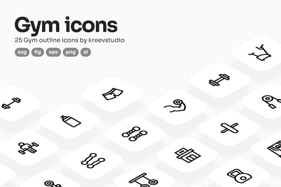 Gym Line Icons