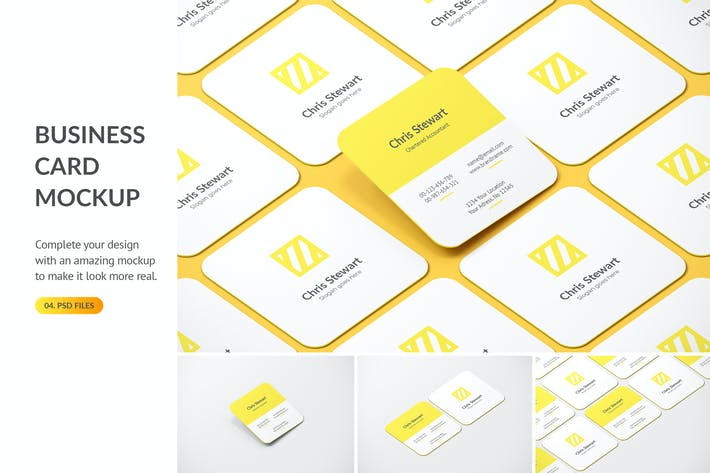 Thumbnail for Rounded Square Business Card Mockup
