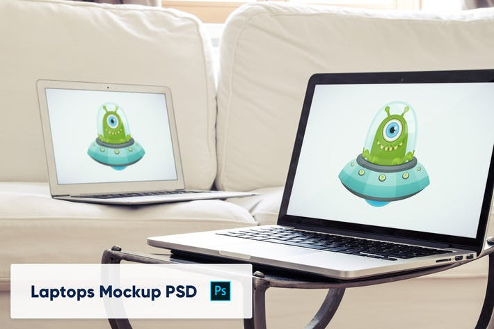 Thumbnail for Laptops in Luxury Interior - Mockup PSD