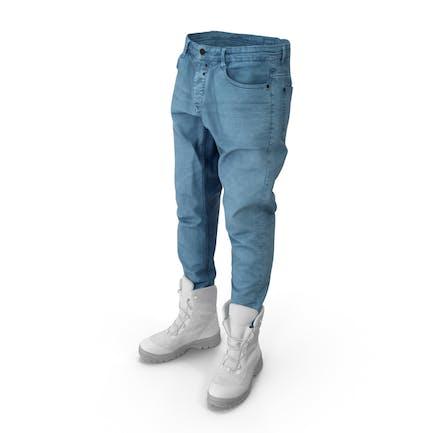 Herren Jeansstiefel Blau Weiss