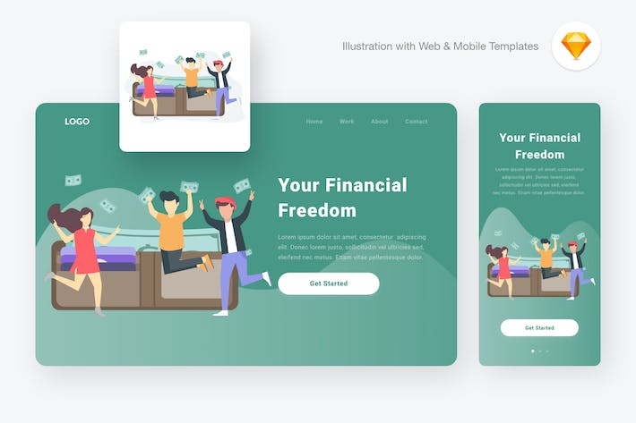 Thumbnail for Financial freedom illustration (Sketch & SVG)