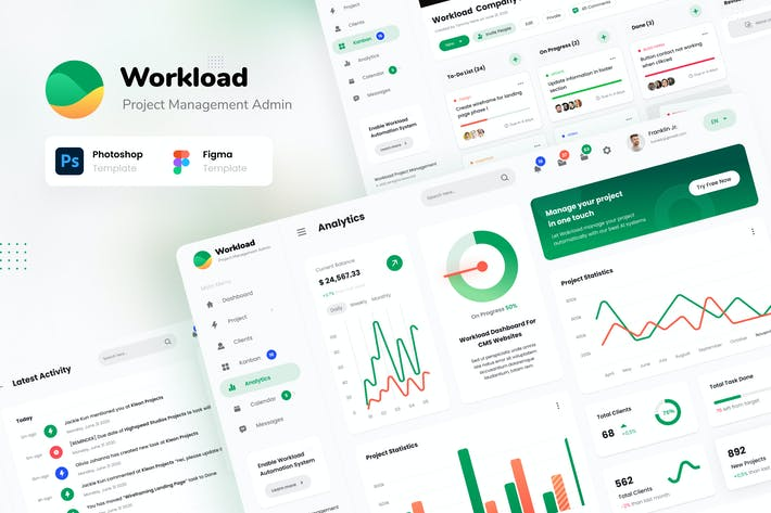Thumbnail for Workload - Project Management Admin Dashboard UI