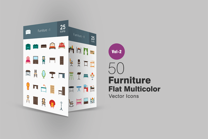 Cover Image For 50 Furniture Flat Multicolor Icons